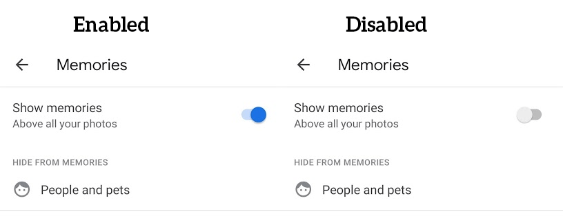 Enable Disable Memories in Photos